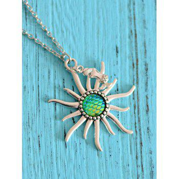 Mermaid Scale Sun Pendant Necklace - GREEN GREEN