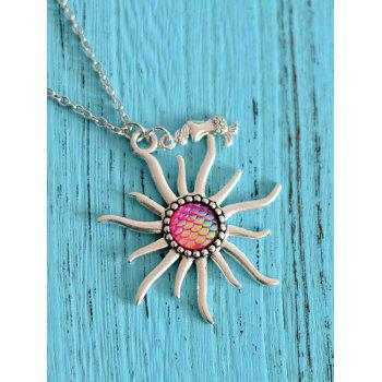 Mermaid Scale Sun Pendant Necklace - ROSE RED ROSE RED