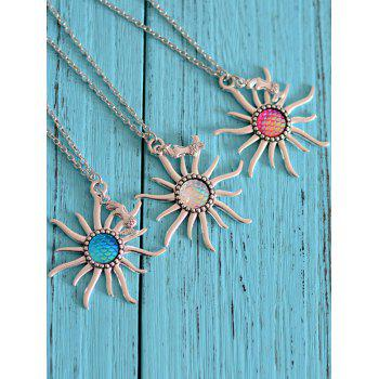 Mermaid Scale Sun Pendant Necklace -  ROSE RED