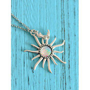 Mermaid Scale Sun Pendant Necklace - WHITE WHITE