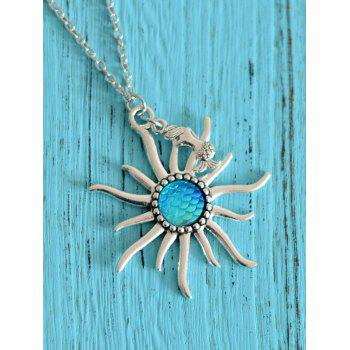Mermaid Scale Sun Pendant Necklace - BLUE BLUE