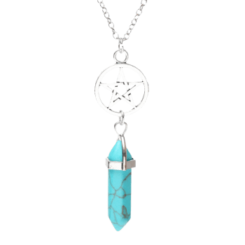 Natural Stone Circle Star Pendant Necklace - TURQUOISE BLUE TURQUOISE BLUE