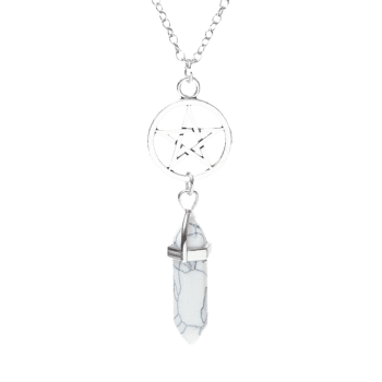 Natural Stone Circle Star Pendant Necklace - WHITE WHITE