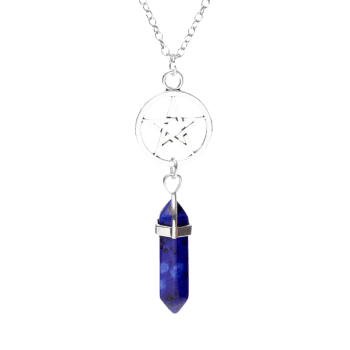 Natural Stone Circle Star Pendant Necklace