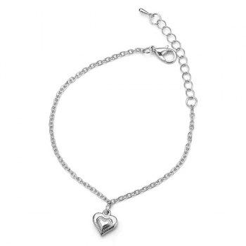 Stainless Steel Heart Chain Charm Bracelet