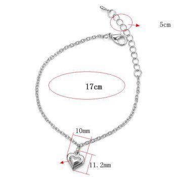 Stainless Steel Heart Chain Charm Bracelet - SILVER