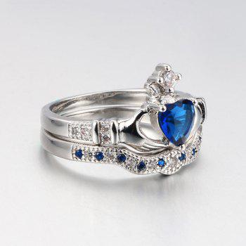 Faux Sapphire Heart Finger Crown Ring Set - 6 6