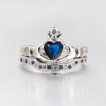 Faux Sapphire Heart Finger Crown Ring Set