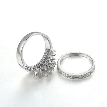 Sparkly Rhinestone Crown Finger Ring Set - Argent 6