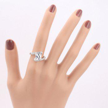 Faux Crystal Rhinestone Sparkly Finger Ring - SILVER 7
