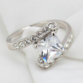 Faux Crystal Rhinestone Sparkly Finger Ring - 7 7