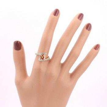 Faux Crystal Rhinestone Sparkly Finger Ring - CHAMPAGNE CHAMPAGNE