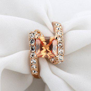 Faux Crystal Rhinestone Sparkly Finger Ring - 8 8