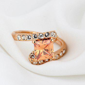 Faux Crystal Rhinestone Sparkly Finger Ring - 6 6
