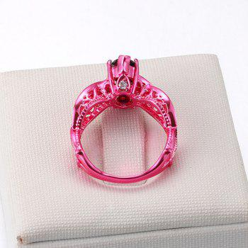 Rhinestone Heart Statement Finger Ring - 8 8