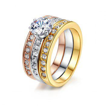 Rhinestone Finger Round Ring Set - COLORMIX 6