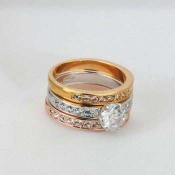 Rhinestone Finger Round Ring Set - 7 7