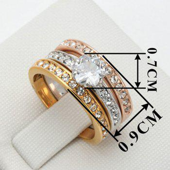 Rhinestone Finger Round Ring Set - 8 8