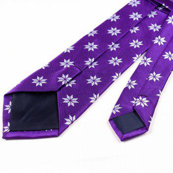 Geometrical Floral Pattern Polyester Neck Tie -  PURPLE