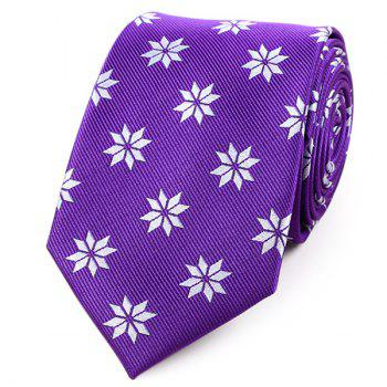 Geometrical Floral Pattern Polyester Neck Tie - PURPLE PURPLE