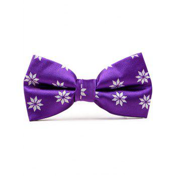 Polyester Geometric Floral Pattern Bow Tie - PURPLE PURPLE