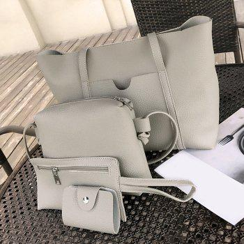 4 Pieces Faux Leather Shoulder Bag Set - GRAY