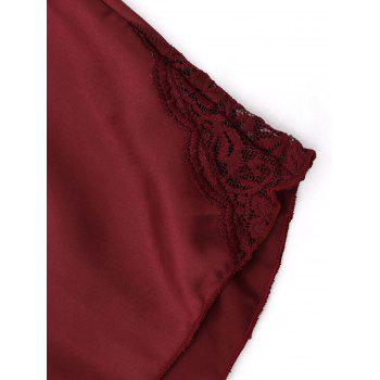Cami Lace Trim Plunge PJ Set - WINE RED 2XL
