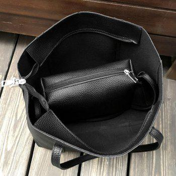 4 Pieces Faux Leather Shoulder Bag Set - BLACK