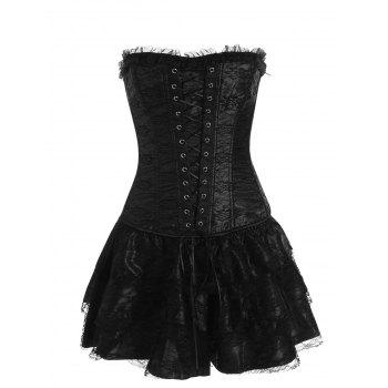 Lace Up Two Piece Corset Dress