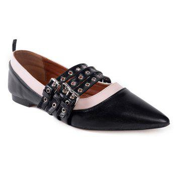 Grommet Tripled Buckle Strap Point Toe Flats