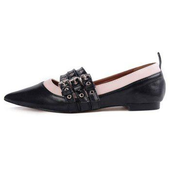 Grommet Tripled Buckle Strap Point Toe Flats - BLACK 39