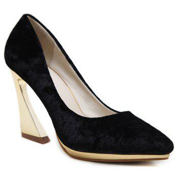 High-polish Heel Point Toe Pumps - BLACK 37