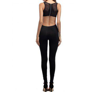 Mesh Insert Cut Out Jumpsuit - BLACK L
