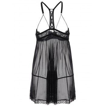Mesh See Thru Split Slip Lingerie Dress - L L