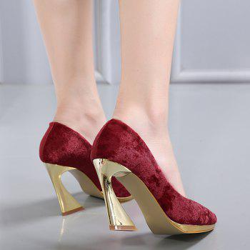 High-polish Heel Point Toe Pumps - RED RED
