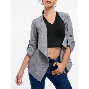 Long Sleeve Draped Open Front Blazer - GRAY XL