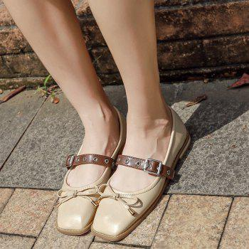 Bowknot Square Toe Mary Jane Flats - Abricot 37