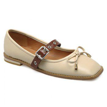 Bowknot Square Toe Mary Jane Flats - APRICOT 37