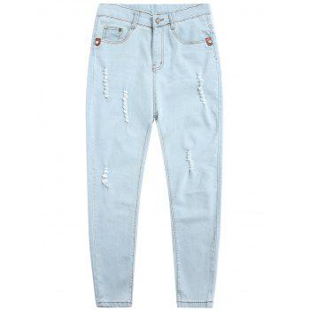 Light Wash Zipper Fly Distressed Jeans
