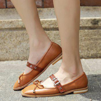 Bowknot Square Toe Mary Jane Flats - Brun 39