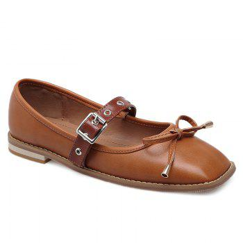 Bowknot Square Toe Mary Jane Flats