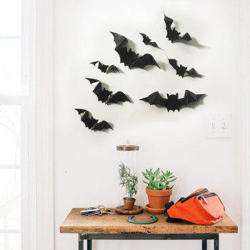 Glow In The Dark Bats Halloween Wall Art Stickers - BLACK