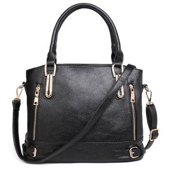 Belt Buckles Zippers Tote Bag - BLACK BLACK