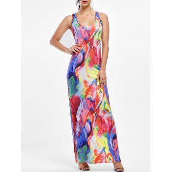 Tie Dye Racerback Maxi Tank Dress