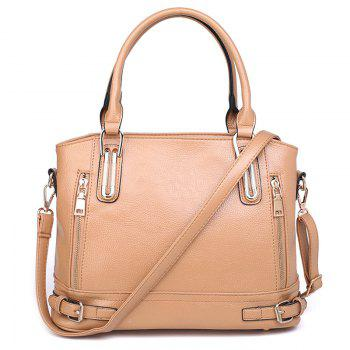 Belt Buckles Zippers Tote Bag - APRICOT APRICOT