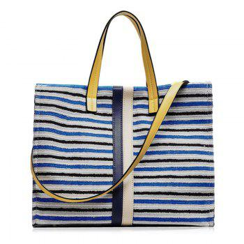 Color Block Canvas Striped Tote Bag - BLUE BLUE