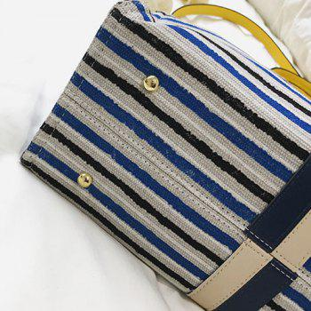 Color Block Canvas Striped Tote Bag -  BLUE