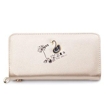 Letter Print Faux Leather Clutch Wallet - LIGHT GOLD LIGHT GOLD
