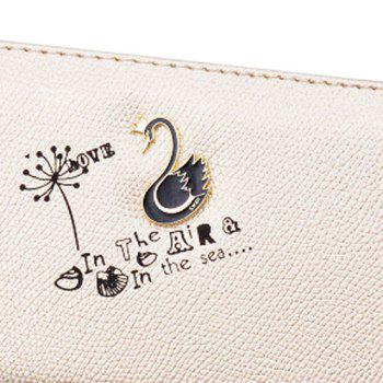 Letter Print Faux Leather Clutch Wallet -  LIGHT GOLD