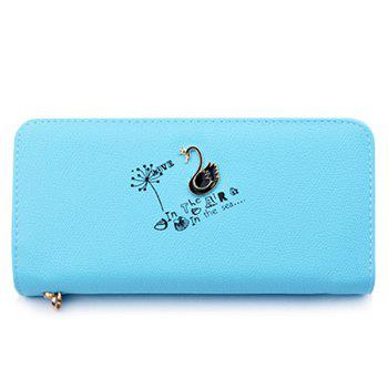 Letter Print Faux Leather Clutch Wallet